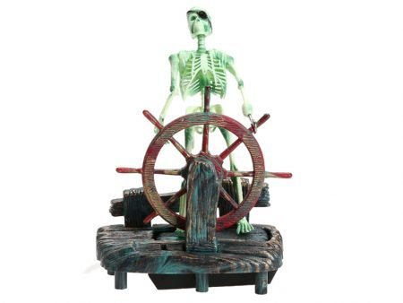 "Resin Aquarium Decoration ""Skeleton at the Wheel"""