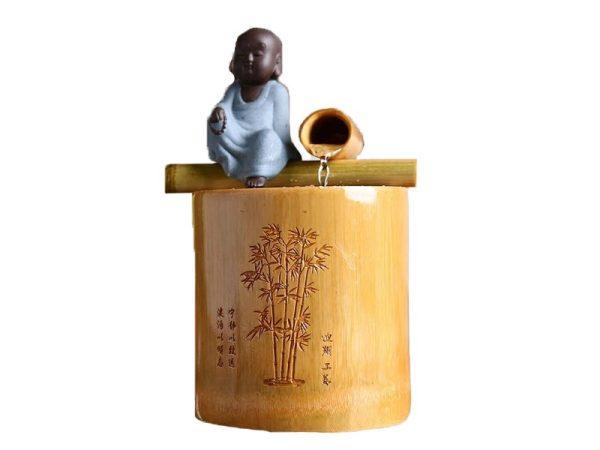 Creative Bamboo Indoor Water Fountain Little Buddha