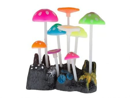 Glowing Mushrooms Aquarium Silicone Decoration